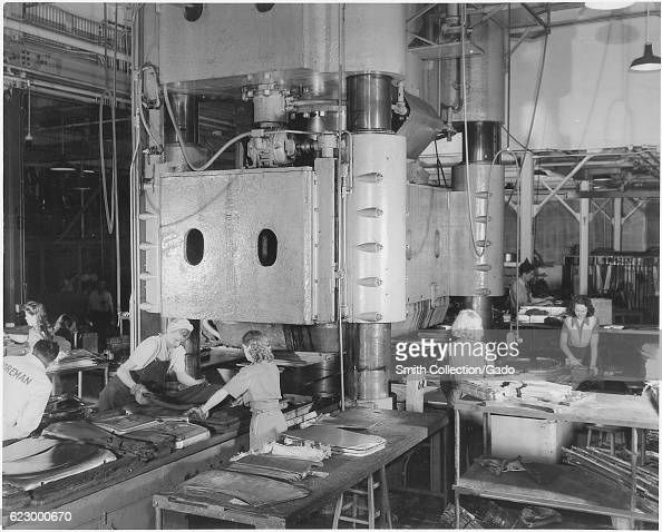 Women take over the operation of some of the heaviest machine tools at the Inglewood California October 1942 Image courtesy National Archives