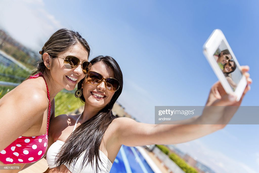 Women taking a selfie on holidays