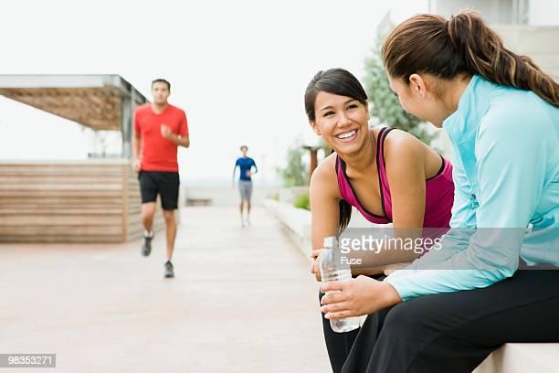 Women taking an exercise break