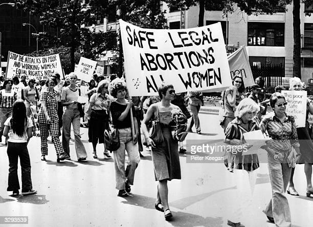 Women taking part in a demonstration in New York demanding safe legal abortions for all women
