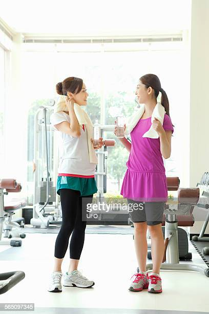 Women talking in gym