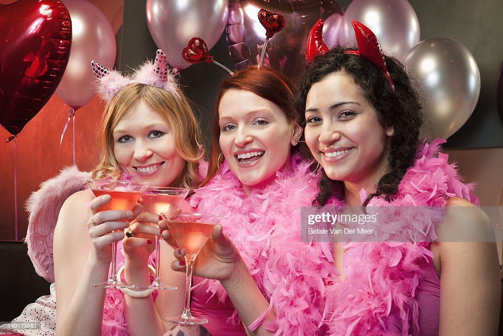 Women toasting glasses with champagne. : Stock Photo