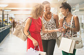 Women together in shopping mall