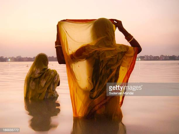 Women took bath at river Ganges