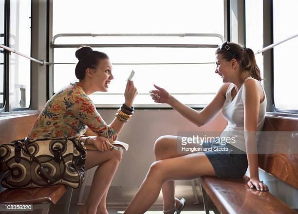 Women travelling in funicular train