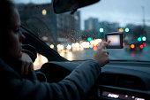 Women using navigation in car