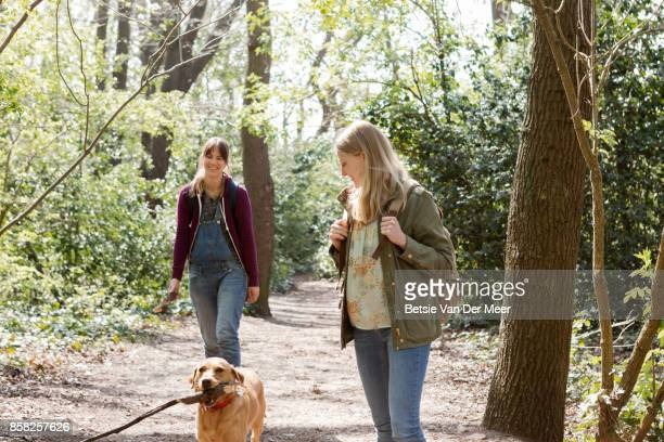 Women walking in forest, with dog carrying large stick in mouth.