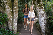 Women walking in woods