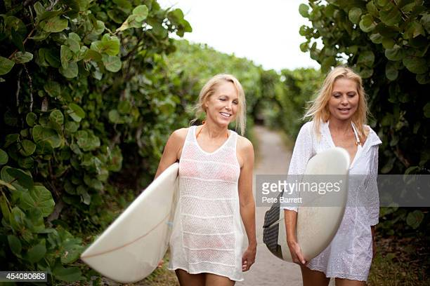 Women walking on path with surfboards