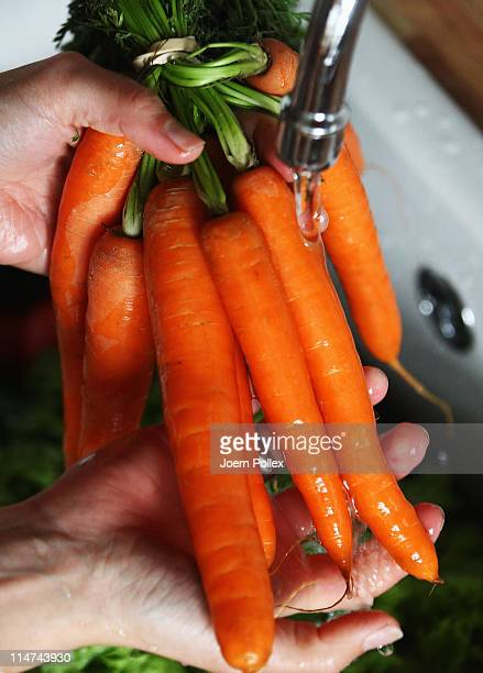 A women washes carrots on May 26 2011 in Hamburg Germany German health authorities have announced they suspect cucumbers tomatoes and salad grown in...