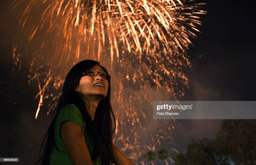 Women watching Pasadena, Rose Bowl fire works show
