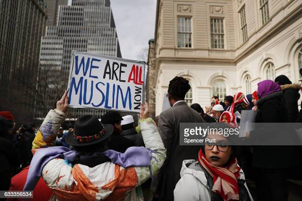 Women wear American Flag head scarfs at an event at City Hall for World Hijab Day on February 1 2017 in New York City The day was started five years...