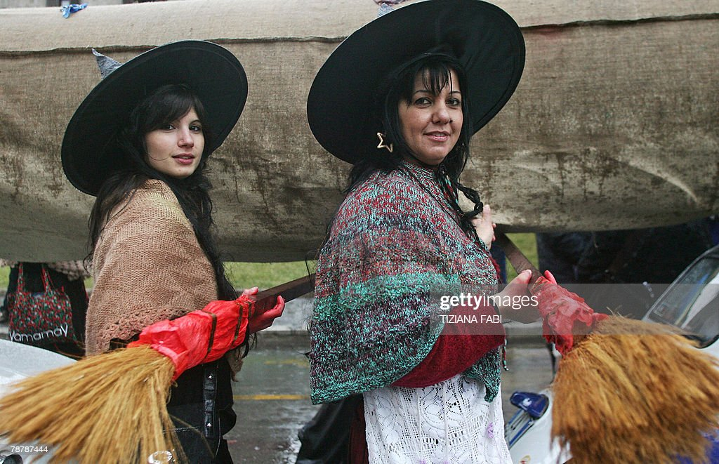 Women wearing Befana outfits take part to the annual Befana parade in Viterbo 05 January 2008 on Epiphany Eve In Italy Epiphany is celebrated with...