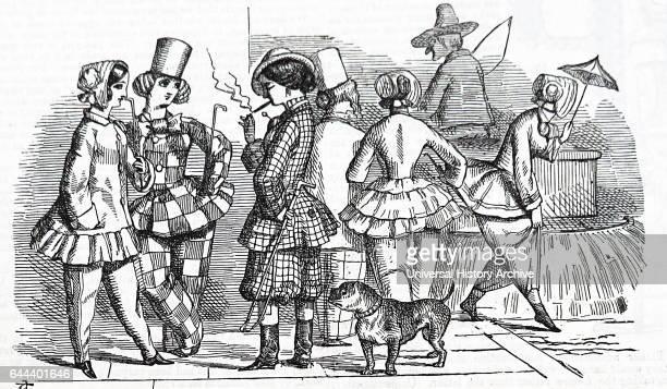 Women wearing bloomers while smoking Cartoon from Punch 1851