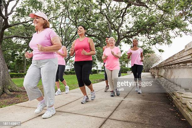 Women wearing pink in breast cancer walk