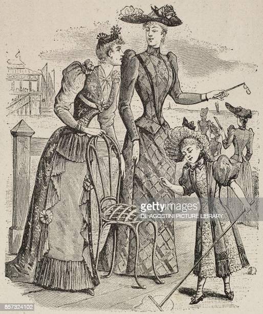 Women wearing seaside outfits illustration from Il Secolo Illustrato della Domenica Year II No 45 August 10 1890