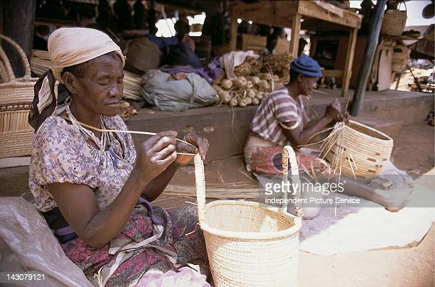 Women weaving baskets Harare Zimbabwe