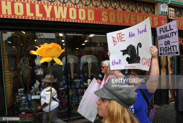 Women who are survivors of sexual harassment sexual assault sexual abuse and their supporters protest during a #MeToo march in Hollywood California...