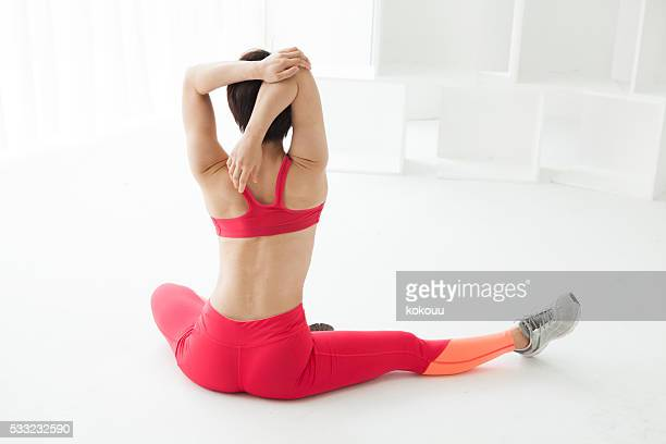Women who have a stretch in the gym