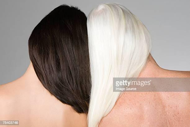 女性、ダークウッドやライトの髪
