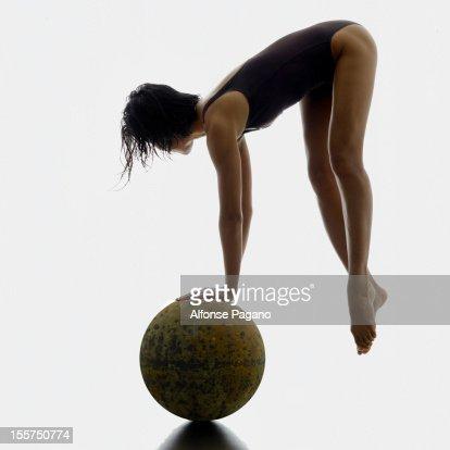 women with globe : Stock Photo