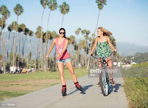 Women with Skates and Bicycle Beach Cruiser in Santa Barbara