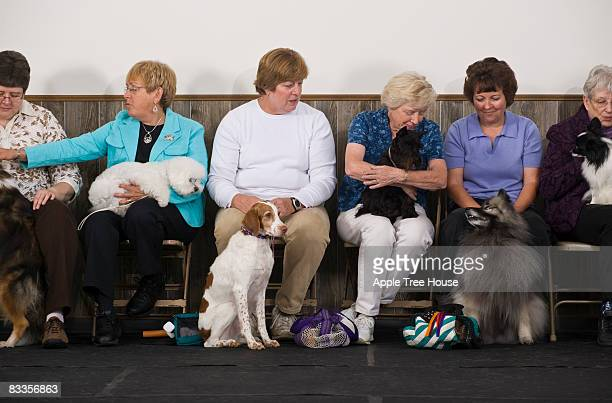 Women with various purebred dogs