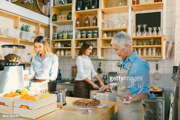 Women Working In Their Cafe