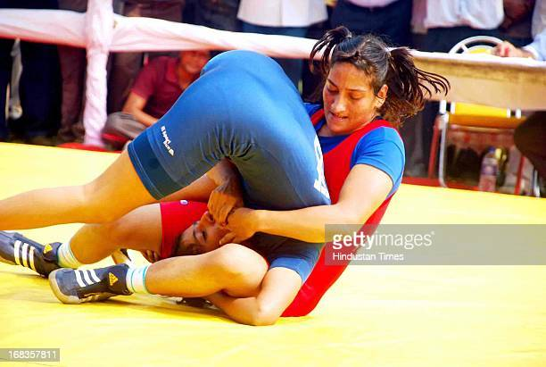 Women wrestling during Haryana state olympic on October 28 2010 in Faridabad India Photo by Subhash Sharma/Hindustan Times