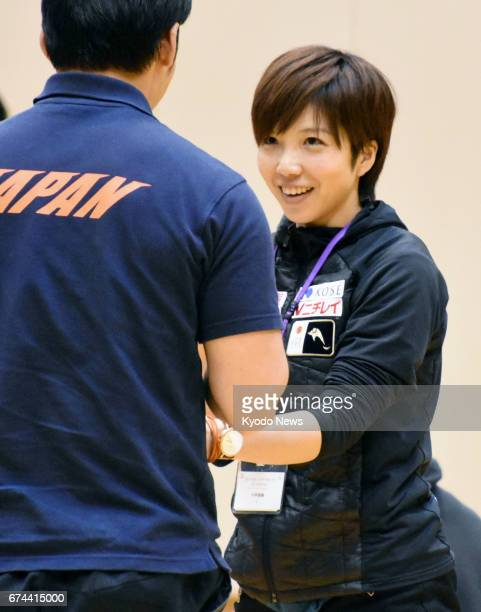 Women's 500meter speed skating World Cup champion Nao Kodaira takes part in a Japanese Olympic Committee workshop in Tokyo on April 28 2017 With the...
