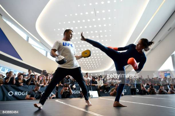 UFC women's bantamweight champion Amanda Nunes of Brazil holds an open workout session for fans and media at Rogers Place on September 7 2017 in...