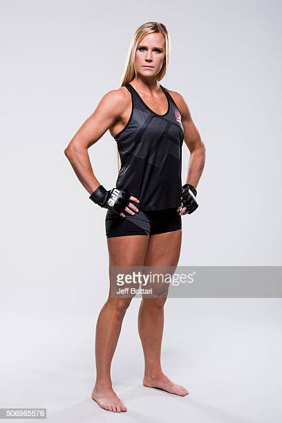 UFC women's bantamweight champion Holly Holm poses for a portrait during a UFC photo session on January 2 2016 in Las Vegas Nevada