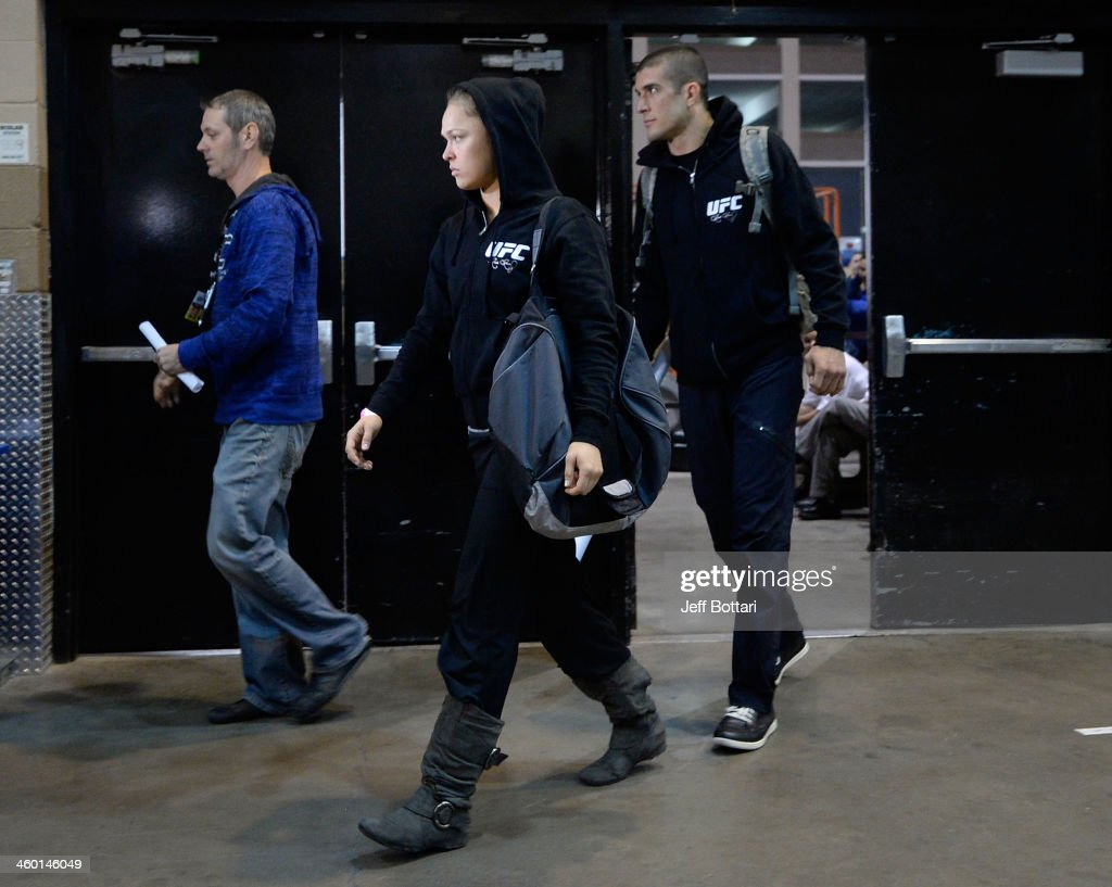 Women's Bantamweight Champion Ronda Rousey arrives prior to her bout against Miesha Tate during the UFC 168 event at the MGM Grand Garden Arena on December 28, 2013 in Las Vegas, Nevada.