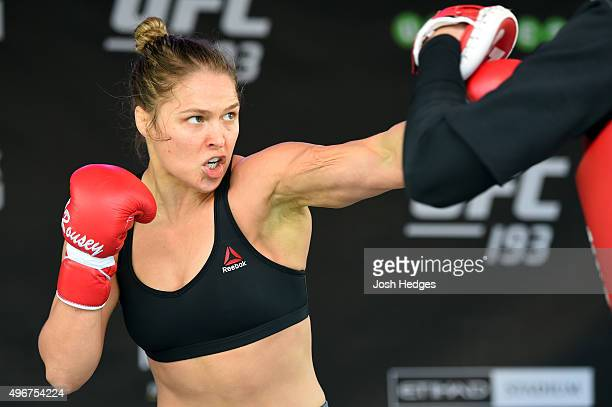 UFC women's bantamweight champion Ronda Rousey of the United States holds an open workout for fans and media at Federation Square on November 12 2015...