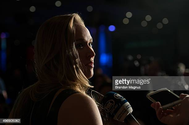 UFC women's bantamweight champion Ronda Rousey of the United States speaks to the media during the UFC 193 Ultimate Media Day festivities at Etihad...