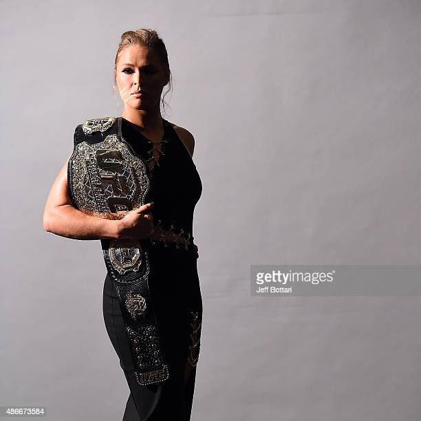 UFC women's bantamweight champion Ronda Rousey poses for a backstage portrait during the UFC's Go Big launch event inside MGM Grand Garden Arena on...