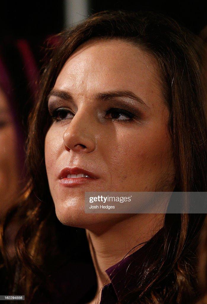 UFC women's bantamweight contender Alexis Davis attends a UFC pre-fight press conference at Honda Center on February 21, 2013 in Anaheim, California.