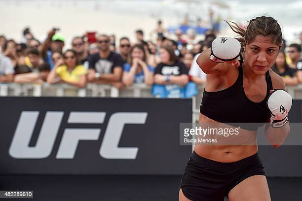Womens bantamweight contender Bethe Correia of Brazil holds an open training session at Pepe Beach on July 29 2015 in Rio de Janeiro Brazil