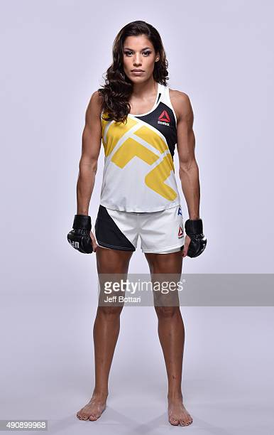 UFC women's bantamweight Juliana Pena poses for a portrait during a UFC photo session inside the Westin Houston on September 30 2015 in Houston Texas