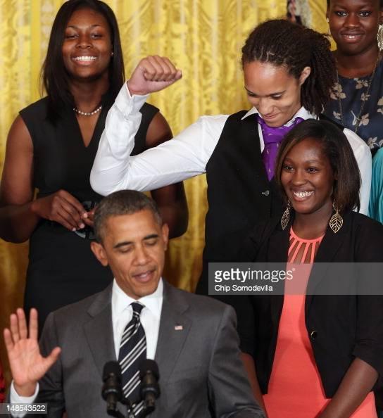 Women's Basketball champion Baylor University Lady Bears 6foot 8inch junior center Brittney Griner pumps her fist as US President Barack Obama talks...