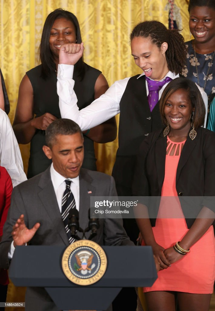 Women's Basketball champion Baylor University Lady Bears 6foot 8inch junior center Brittney Griner pumps her fist as US President Barack Obama talks...