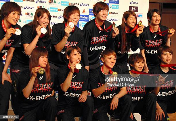 Women's Basketball Japan team pose for photographs during a press conference after security a berth of Rio de Janeiro Olympic on September 6 2015 in...