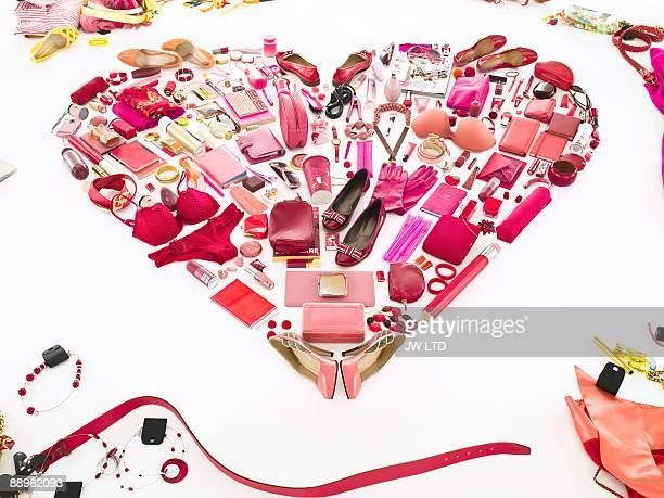 Women's belongings in shape of heart
