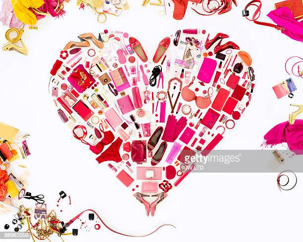 Women's belongings in shape of heart