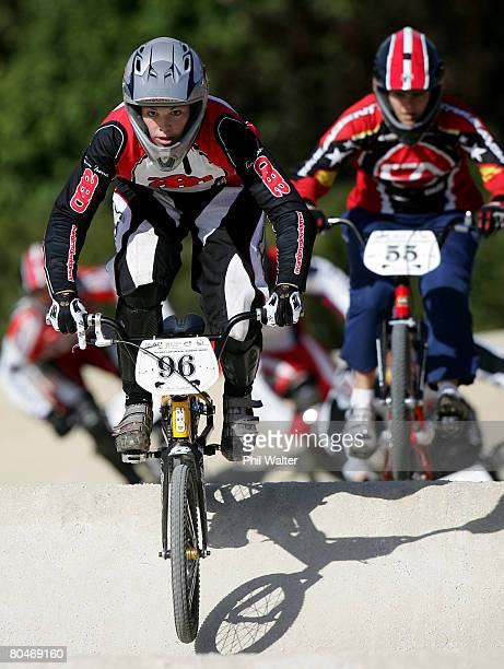 Womens BMX World Champion Sarah Walker competes in the North Island BMX Championships at the Hamilton BMX track on October 21 2007 in Hamilton New...