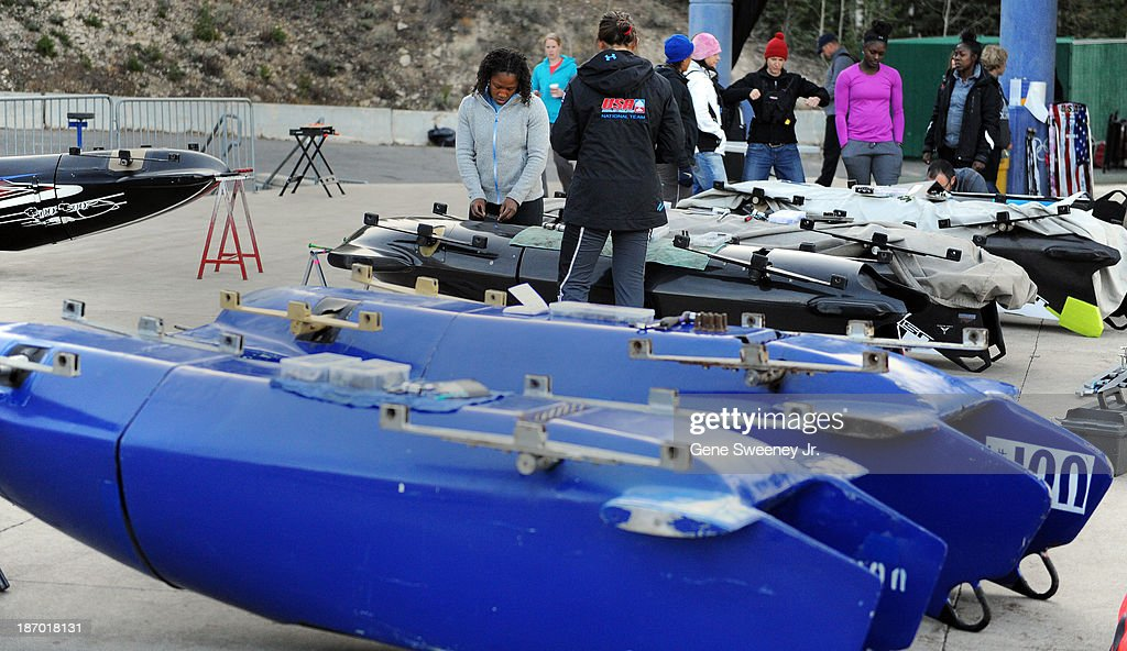 USA women's bobsled teams prepare their sleds in 'parc ferme' before the start of their selection runs at the Utah Olympic Park October 25, 2013 in Park City, Utah.