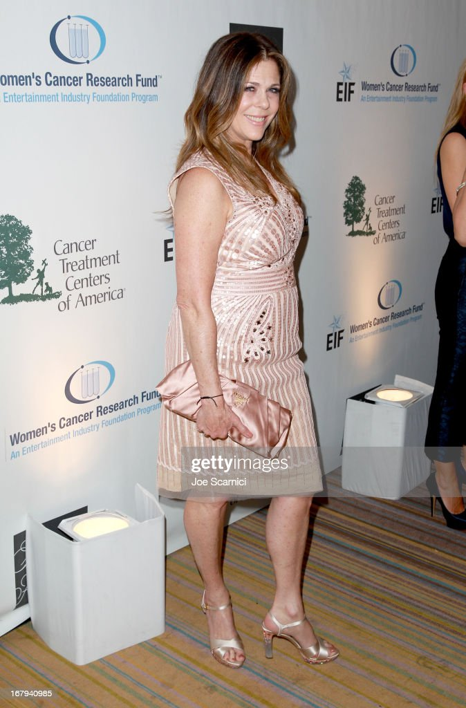 "Women's Cancer Research Fund honorary chair Rita Wilson wearing Carolina Herrera attend EIF Women's Cancer Research Fund's 16th Annual ""An Unforgettable Evening"" presented by Saks Fifth Avenue at the Beverly Wilshire Four Seasons Hotel on May 2, 2013 in Beverly Hills, California."