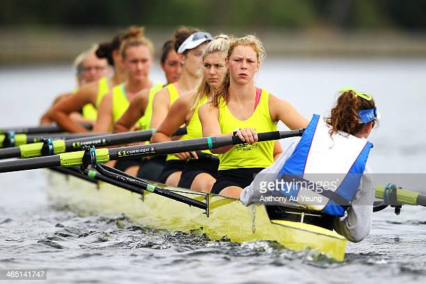 Womens Club Coxed Eight final at Lake Karapiro on January 26 2014 in Cambridge New Zealand