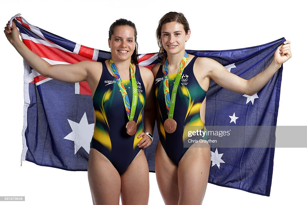 Women's Diving Synchronised 3m Springboard Bronze medalists Anabelle Smith and Maddison Keeney of Australia pose during a portrait session on August...