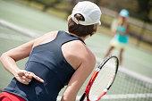 women's doubles tennis hand signal